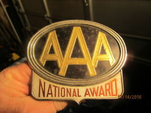 Vintage Aaa National Award Plaque Badge Plate Topper W mount Bolt