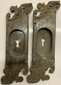 2 Antique Brass Pocket Door Sliding Door Plates Art Nouveau Victorian Salvage