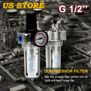 G1 2 Air Compressor filter Oil Water Separator Trap Tools Digit Regulator Gauge