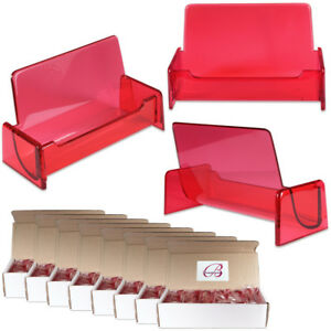 100pc Hq Acrylic Plastic Business Name Card Holder Display Stand clear Red