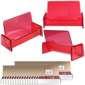 500pc Hq Acrylic Plastic Business Name Card Holder Display Stand clear Red