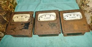 3 Vintage Roller smith Co Gauges Meters D c Volts A c Amperes