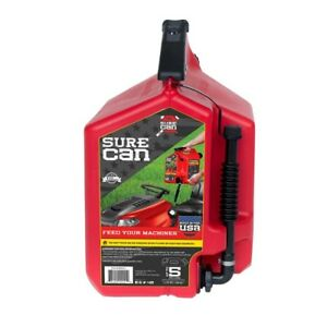 Gas Can 5 Gal Portable Plastic Flow Control Fuel Gasoline Container Jug Canister
