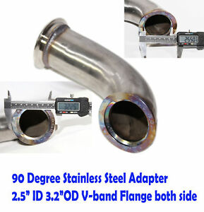 Universal 90 Degree 2 5 id V band Flange Stainless Steel Elbow Adapter Downpipe