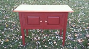 Vintage Pine Wood Amish American Country 2 Door Red 41 Kitchen Server Cabinet