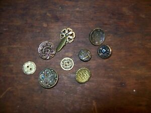 Lot Of Antique Ornate Buttons Brass Metal Marcasite