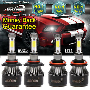 For Dodge Ram 1500 2500 3500 H11 9005 4 sided Led Headlight High Low Beam 3600w