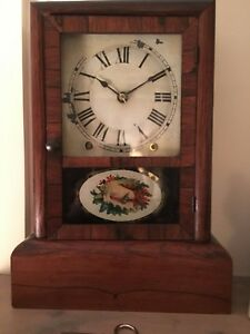 Antique Seth Thomas Cottage Style Mantle Clock 1870 Sea Shell Painted Door