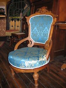 Victorian Renaissance Revival Parlor Chair New Upholstery