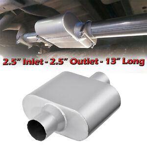 Single Chamber Center 2 5 Inlet Outlet Performance Race Mufflers Universal 1pc