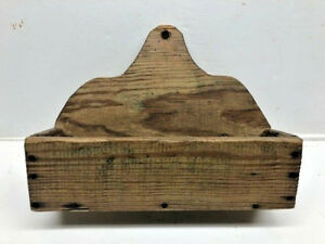 1870 S Antique Southern Yellow Pine Wall Hanging Wooden Candle Box Square Nails