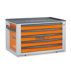 Beta Tools Special Italy C23st Portable 5 Drawer Toolchest Toolbox In Orange