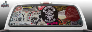 Grunge Skull Stickers Tattoo Perforated Rear Window Graphic Decal Suv Truck Car