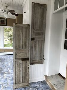 Antique Primitive Window Shutters Raised Panel Doors Gray White Pair 72 X 18
