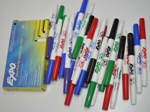 Large Lot Of Expo Low Odor Dry Erase Markers Ultra Fine Tip Black Red Blue Green
