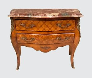 French Louis Xv Antique Styled Marble Top Bombe Formed Dresser Console Chest