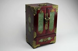Large 12 Antique Vintage Chinese Wood Jewelry Box With Hand Carved Jade Accents