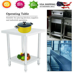 Double Layer Stainless Steel Commercial Kitchen Work Food Prep Table 24 x24