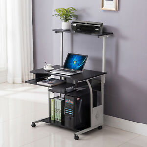 Computer Desk Rolling Shelf Stand Table Laptop W printer Home Office Furniture