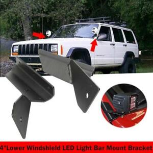 For Jeep Cherokee Xj Comanche 4 Lower Windshield Led Light Bar Mount Bracket Us