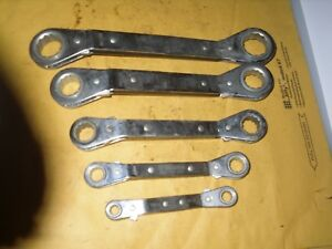 Williams 5pc Sae 1 4 7 8 Reversible Ratcheting 12pt Offset Box Wrench Set