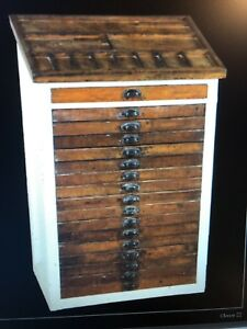 Antique Letterpress Printer S Cabinet 17 Drawers