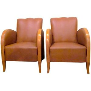 Pair Of Art Deco Caramel Naugahyde And Curved Blonde Wood Rounded Club Chairs