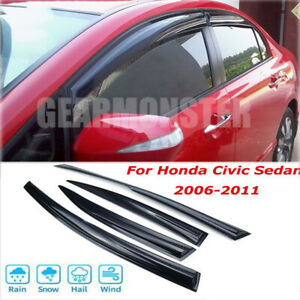 Window Visor Rain Shade For 2006 2007 2008 2009 2010 2011 Honda Civic 4d Ej