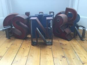 1950 60 S Copper Metal Letter N Sign Name Initial Prop Industrial