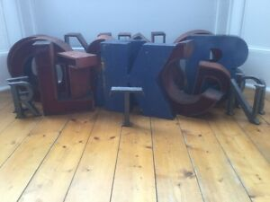 1940 50 S Metal Letter T Sign Name Initial Prop Industrial