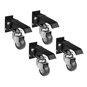 Pack Of 4 Powertec Workbench Plate Caster Kit Smooth Rolling Pivoting Wheels