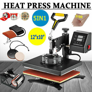 12x10 T shirt Heat Press Combo Transfer Machine Sublimation 360 Swing Away