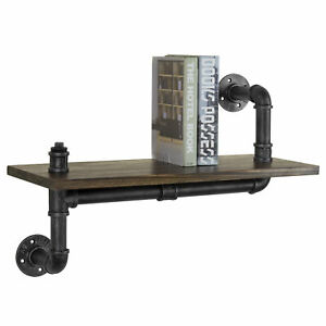 24 inch Industrial Pipe Wood Floating Shelf Wall mounted Ledge Rack
