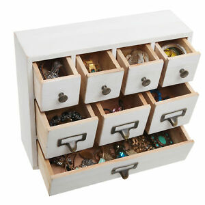 White Wood Library Card Catalog Storage Cabinet 8 Drawer Jewelry Organizer