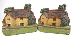 Antique Cast Iron Cottage Bookends Sulgrave Manor George Washington England