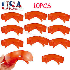 10pcs Dental Safety Goggle Glasses Protective Eye Led uv Curing Light Whitening