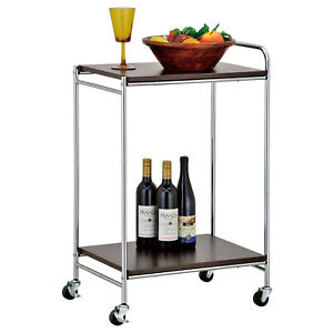 2 tier Stainless Steel Rolling Service Cart Kitchen Food Server W Handle