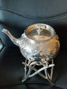11441 Stunning Epbm Teapot On Stand Ornate Needs Tlc Marked 1011 To Base Lush