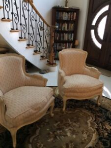 Vintage Antique Two French Bergere Arm Chairs Light Wood Pair