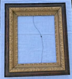 Lovely Antique Gold Gilt Gesso Wooden Picture Frame Vtg Home Wall Art 29 X25