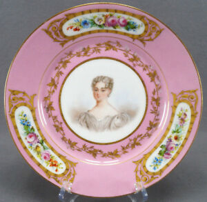 Sevres Style Pompadour Pink Hand Painted Mde Louise Portrait Floral Gold Plate