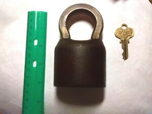 Vintage Working Brass Segal Heavy Duty Padlock With Key Weighs 1 1 2 Pounds