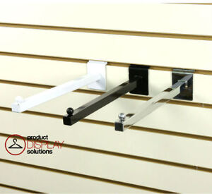 Pack Of 24 Slatwall 12 Straight Faceout Arm Black White Or Chrome