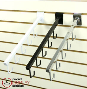Pack Of 24 Slatwall 5 j hook Waterfall Faceout Arm Black White Or Chrome