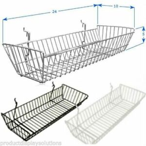 Pack Of 6 24 l X 10 w X 5 d Gridwall Baskets Black White Or Chrome
