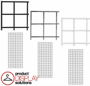 Pack Of 3 1ft X 5ft Gridwall Panels Black White Or Chrome