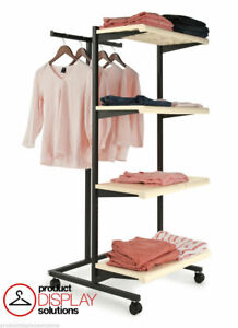 T Stand Four Shelves Combination Retail Garment Display Rack