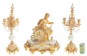 French Ormolu Antique Clock Garniture