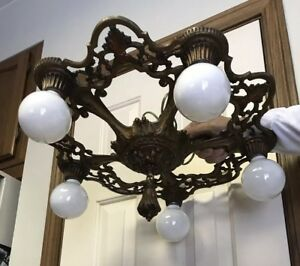 Art Deco Cast Metal Antique Vintage Ceiling Light Fixture Chandelier 5 Socket