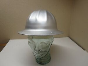 Gently Used Vintage Bf Mcdonald Aluminum Hard Hat Helmet With Leather Liner